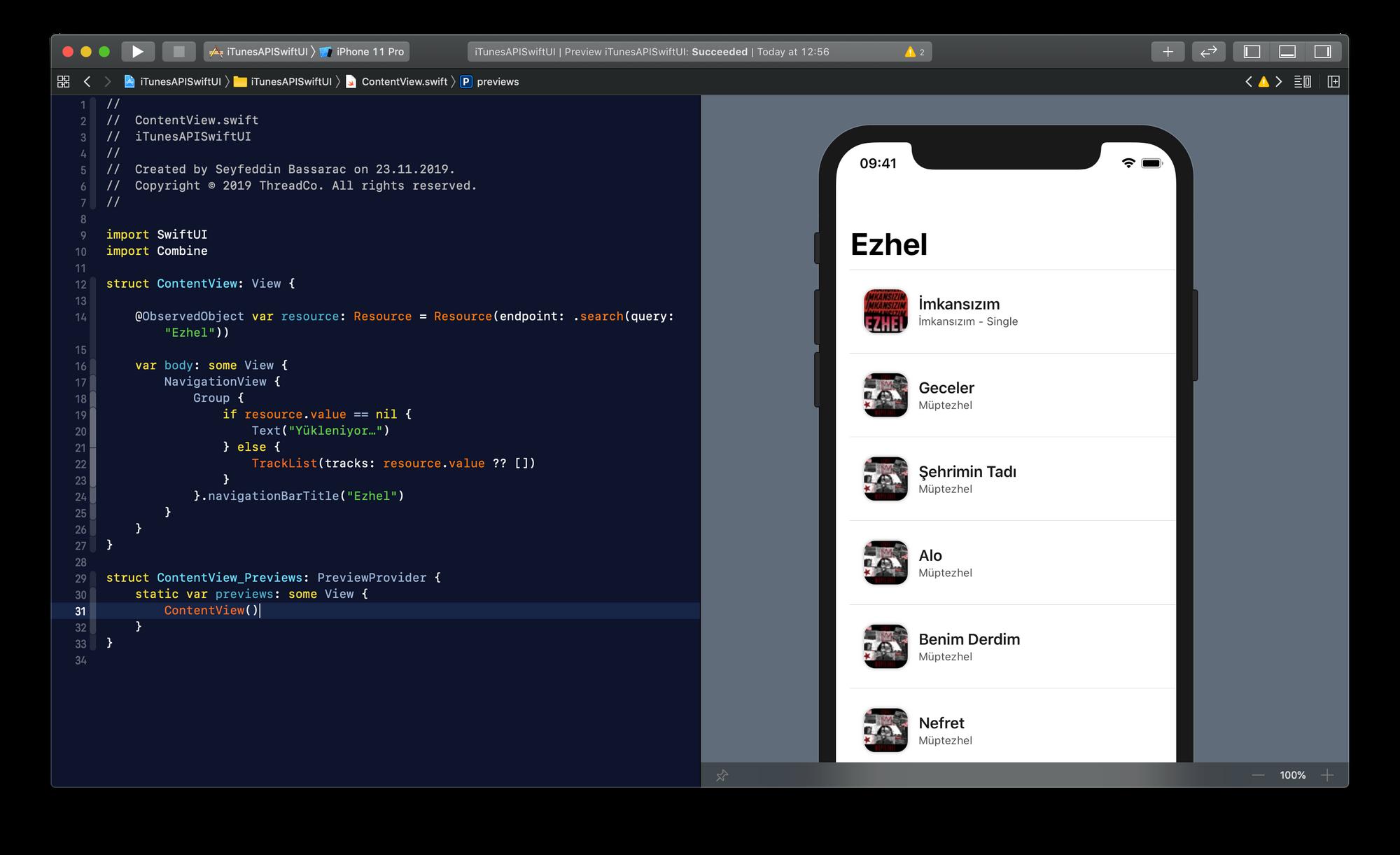 Xcode'da SwiftUI arayüzü derleme ekranı